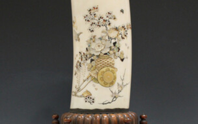 A Japanese Shibayama inlaid ivory tusk vase, cover and wood stand, Meiji period, the tusk finely inl