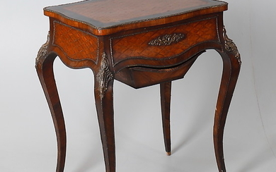 A LATE 19TH CENTURY FRENCH ROSEWOOD AND PARQUETRY LADIES DRESSING TABLE.