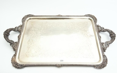 A LATE VICTORIAN RECTANGULAR STERLING SILVER TWO HANDLED TRAY, JAMES DIXON & SONS, SHEFFIELD, 1897, APPROXIMATELY 4,689 GMS TOTAL WE...