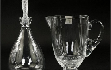 A Lalique Decanter and Pitcher.