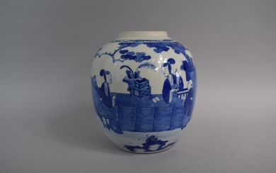 A Large Chinese Blue and White Ginger Jar (No Lid) Decorated...