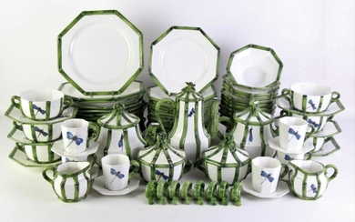 A Large Italian Dinner Service Inc Serving Dishes, Utensils and Napkin Rings (Pattern No 70055 Costa)