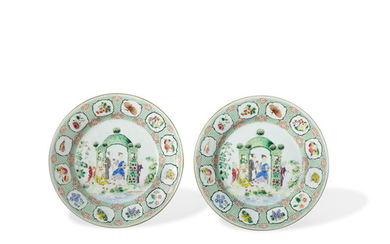 A PAIR OF EXPORT 'ARBOR PATTERN' PLATES