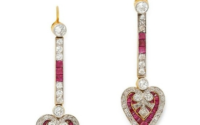 A PAIR OF RUBY AND DIAMOND DROP EARRINGS CIRCA 1940 in