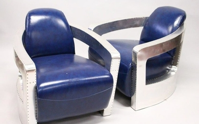 A PAIR OF STYLISH ART DECO STYLE BLUE LEATHER