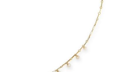 A PEARL NECKLACE the fine gold chain set with fifteen