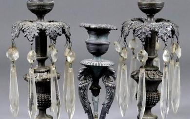 A Pair of English Cast Bronze Table Candlesticks with...