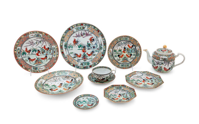 A Partial Set of Chinese Export Famille Rose Porcelain 'Rooster' Dinner Service