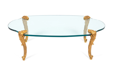 A Rococo Style Gilt-Bronze and Plate Glass Cocktail Table