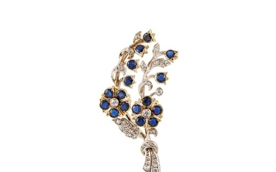 A SAPPHIRE AND DIAMOND FLORAL SPRAY BROOCH, mounted in white...