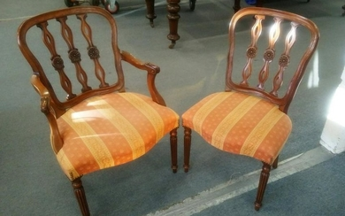 A SET OF EIGHT VICTORIAN STYLE MAHOGANY DINING CHAIRS,