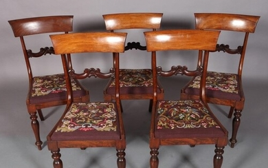 A SET OF FIVE EARLY VICTORIAN MAHOGANY DINING CHAIRS with co...