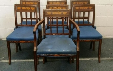 A SET OF SEVEN 19TH CENTURY DUTCH MAHOGANY AND