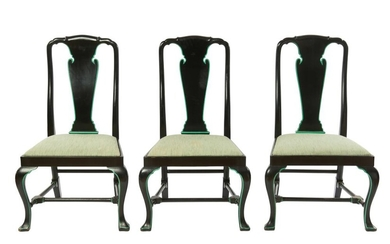 A SET OF SIX BLACK LACQUERED GEORGIAN STYLE DINING CHAIRS 19TH CENTURY
