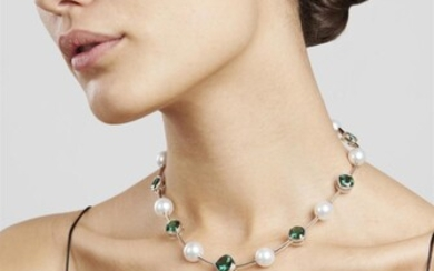 A SOUTH SEA PEARL AND TOURMALINE NECKLACE BY AUTORE