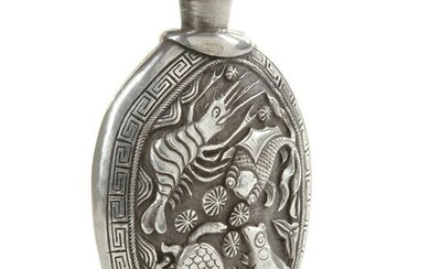 A TIBETAN SILVER-MOUNTED JADE SNUFF BOTTLE, 19TH