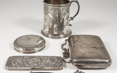 A Victorian Silver Christening Mug, and mixed silverware, the...
