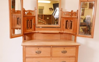 A Victorian satin walnut dressing table, the upper section w...
