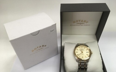 A boxed Rotary Legacy automatic watch with baton numerals an...