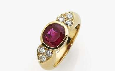 A cocktail ring with a ''Burma'' ruby and brilliant cut
