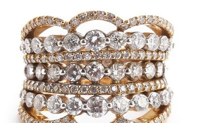 A diamond ring set with numerous brilliant-cut diamonds weighing a total of app. 1.65 ct., mounted in 18k gold and white gold. Top Crystal/SI-P1. Size 53.