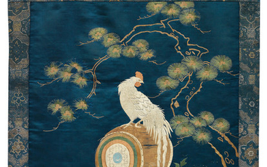 A fine silk embroidery of a rooster