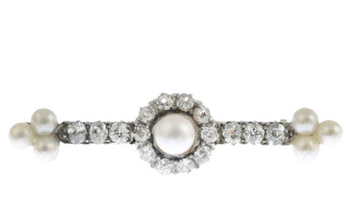 A late Victorian silver and gold old-cut diamond and cultured pearl bar brooch.