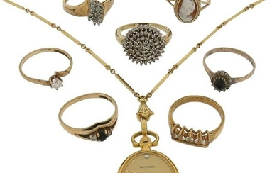 A mixed group of jewellery including seven gem-set...