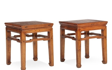 A pair of Chinese elmwood and rootwood Low Tables. First half of the 20th century. H. 51 cm. W. 42 cm. D. 42 cm.