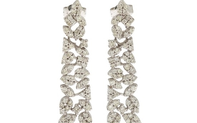 A pair of diamond ear pendants each set with numerous brilliant-cut diamonds totalling app. 2.91 ct., mounted in 14k white gold. L. 4.1 cm. (2)
