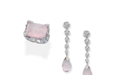 A rose quartz dress ring and earring suite, by carrera y carrera