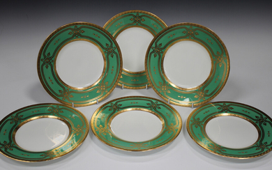 A set of six Minton dinner plates, mid-20th century, retailed by Tiffany & Co New York, the rims