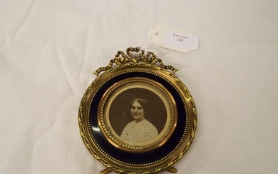 A vintage French brass and blue enamel picture frame