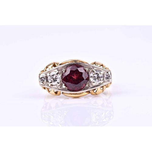 A yellow gold, diamond, and garnet ring, set with a mixed ro...