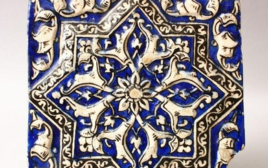 AN 19TH CENTURY OR EARLIER PERSIAN POTTERY MOULDED
