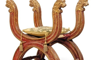 AN ITALIAN RED-PAINTED AND PARCEL-GILT CURULE STOOL, SECOND HALF 19TH CENTURY