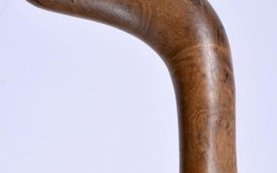 AN UNUSUAL MID 19TH CENTURY CARVED WOOD WALKING CANE