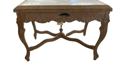 """ANTIQUE CARVED WOOD MARBLE TOP SMALL 25"""" TABLE"""