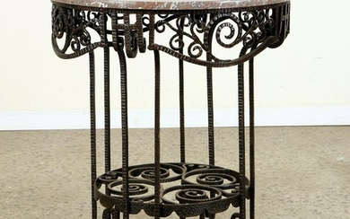 ART DECO WROUGHT IRON TABLE MARBLE TOP C.1920