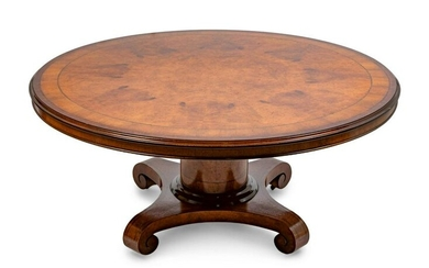 An Edwardian Inlaid and Veneered Center Table Height 32