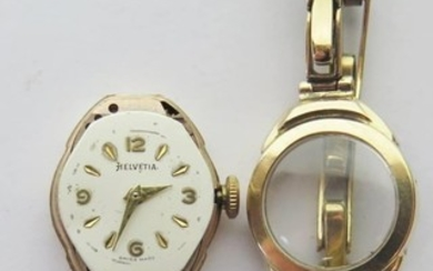 An Helvetia Ladies 9ct Gold Cased wristwatch and bracelet, 1...