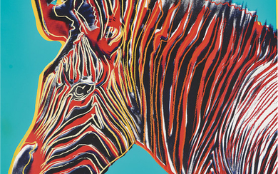 Andy Warhol American 1928–1987 Grevy's Zebra (from the Endangered Species series) 1983 colour silkscreen on Lenox Museum Board signe...