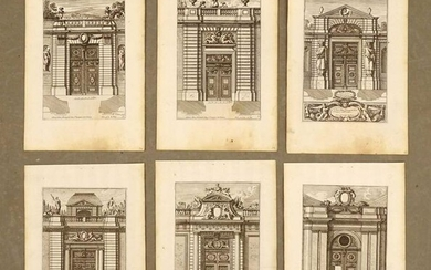 Antique French Architectural Print Set (6)