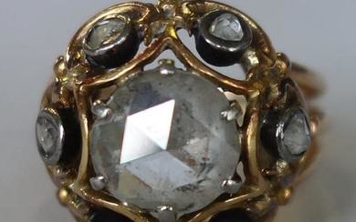 Antique Rose Cut Diamond & 14K Gold Ring, 2.91 Cts