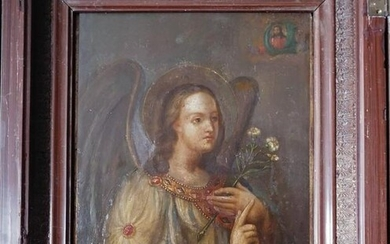 Antique Russian 1890 Icon Of Archangel Gabriel With