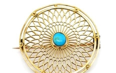 Antique yellow gold and turquoise disc brooch with geometric...