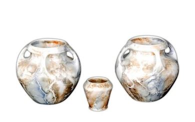 Arabia - Two post war ovoid vases, each with four handles to...