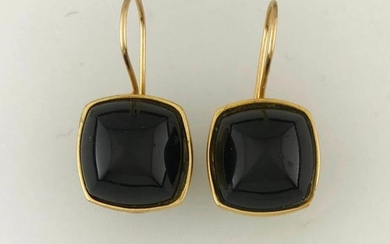 BACCARAT, Pair of 750°/°° gold earrings with a...
