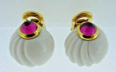 BVLGARI 18k Yellow Gold, Pink Tourmaline & Ceramic Ball