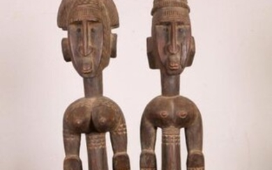 Bamana, sculpture of male and female figure on...
